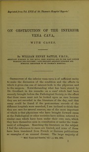 Cover of: On obstruction of the inferior vena cava, with cases