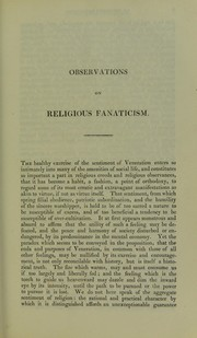 Cover of: Observations on religious fanaticism | W. A. F. Browne