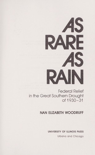 As rare as rain : federal relief in the great southern drought of 1930-31 by
