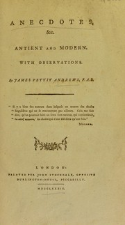Cover of: Anecdotes, etc. antient and modern. With observations