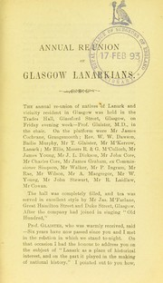 Cover of: Annual re-union of Glasgow Lanarkians | Glaister, John
