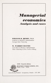 Cover of: Managerial economics | Henry, William R.