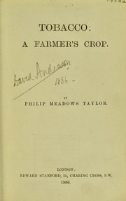 Cover of: Tobacco - a farmer's crop