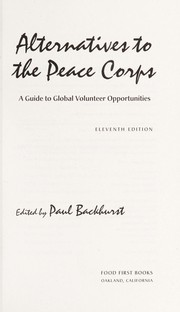 Alternatives to the Peace Corps by Becky Buell