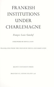 Cover of: Frankish institutions under Charlemagne