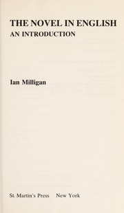 Cover of: The novel in English | Milligan, Ian.