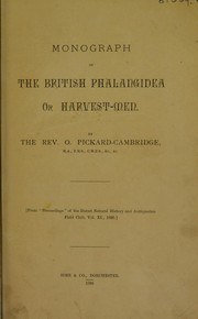Cover of: Monograph of the British Phalangidea or harvest men