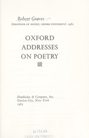 Cover of: Oxford addresses on poetry