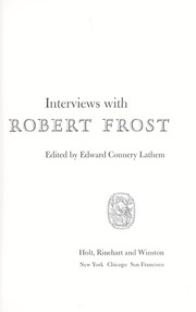 Cover of: Interviews with Robert Frost