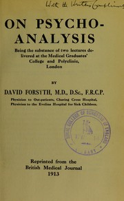 Cover of: On psycho-analysis