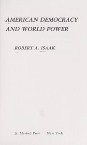 Cover of: American democracy and world power