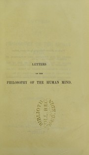 Cover of: Letters on the philosophy of the human mind : first series