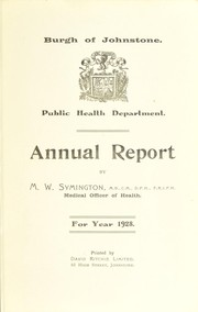 Cover of: [Report 1928] | Johnstone (Scotland). Burgh Council