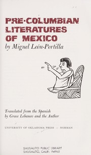 Cover of: Pre-Columbian literatures of Mexico. | Miguel LeoМЃn Portilla