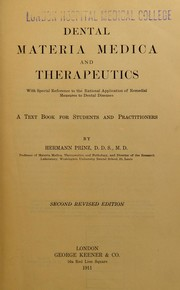 Cover of: Dental materia medica and therapeutics | Prinz, Hermann