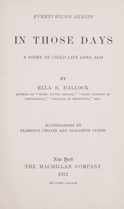 Cover of: In those days | Ella B. Mrs Hallock