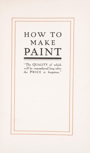 Cover of: How to make paint | Toch Brothers