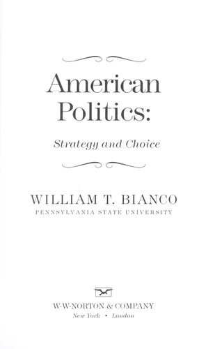 American politics : strategy and choice by