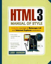 Cover of: HTML3 manual of style