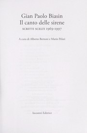 Cover of: Il canto delle sirene | Gian-Paolo Biasin