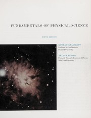 Cover of: Fundamentals of physical science