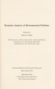 Cover of: Economic analysis of environmental problems | edited by Edwin S. Mills.