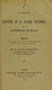 Cover of: De l'influence des d©♭viations de la colonne vert©♭brale sur la conformation du bassin