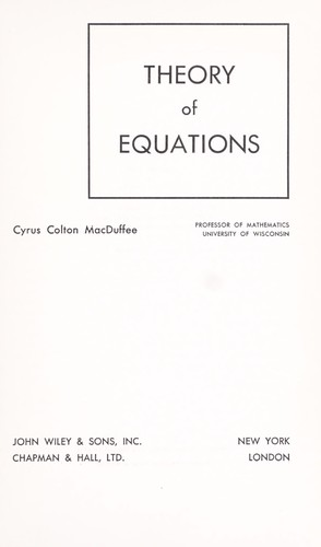 Theory of equations.