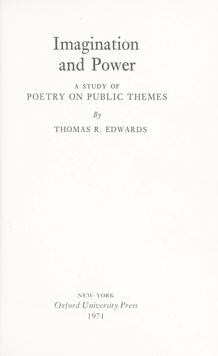 Imagination and power by Edwards, Thomas R.