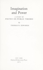 Cover of: Imagination and power | Edwards, Thomas R.