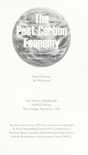 Cover of: The post-carbon economy | Amit Chatterjee