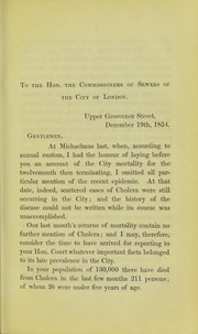 Cover of: Report on the cholera epidemic of 1854, as it prevailed in the City of London