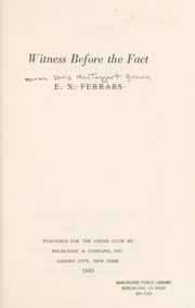 Cover of: Witness before the fact