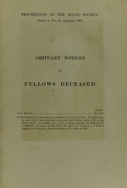 Cover of: Obituary notices of Fellows deceased