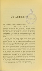 Cover of: An address delivered at the Conversazione held at the London Hospital, October 2nd, 1882 | Hutchinson, Jonathan Sir