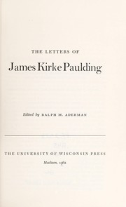 Cover of: The letters of James Kirke Paulding