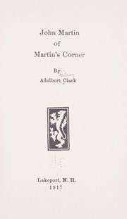 Cover of: John Martin in Martin's Corner