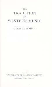 Cover of: The tradition of Western music