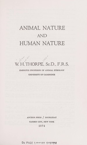 Animal nature and human nature by William Homan Thorpe