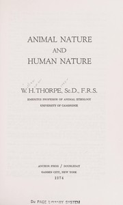 Cover of: Animal nature and human nature | William Homan Thorpe