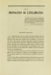 Cover of: De la propagation de l'inflammation