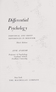 Cover of: Differential psychology; individual and group differences in behavior