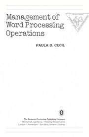 Cover of: Management of word processing operations