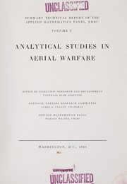 Cover of: Analytical studies in aerial warfare