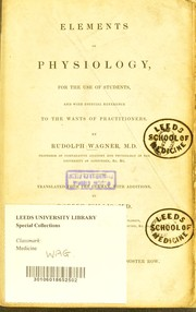 Cover of: Elements of physiology