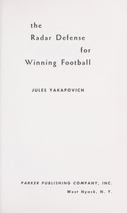 Cover of: The radar defense for winning football