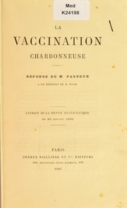Cover of: La vaccination charbonneuse
