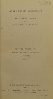 Cover of: Anglo-Saxon leechcraft | Burroughs Wellcome and Company