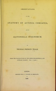 Cover of: Observations on the anatomy of actinia coriacea and on alcyonella stagnorum