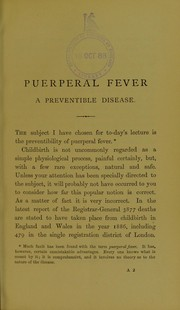 Cover of: Puerperal fever, a preventible disease